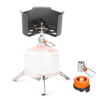 Outdoor Camping Cooker Set Foldable Gas Stove Clip on Stove Windshield Folding Cylinder Tripod Holder Gas Refill Adapter
