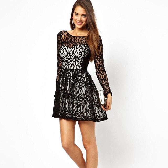 1836 2014fashion Dear Lover Long Sleeves Lace Skater Dress Women Dress Lc2961 Free Shipping En Vestidos De La Ropa De Las Mujeres En