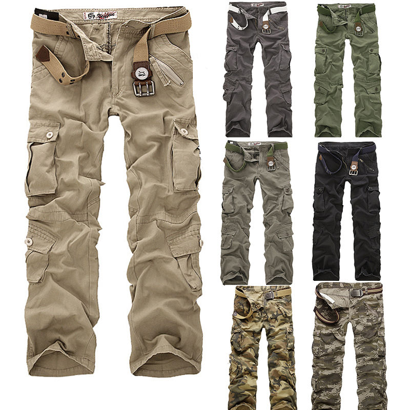 Men s Cotton Military Cargo font b Pants b font Camouflage ARMY Camo Trousers Combat