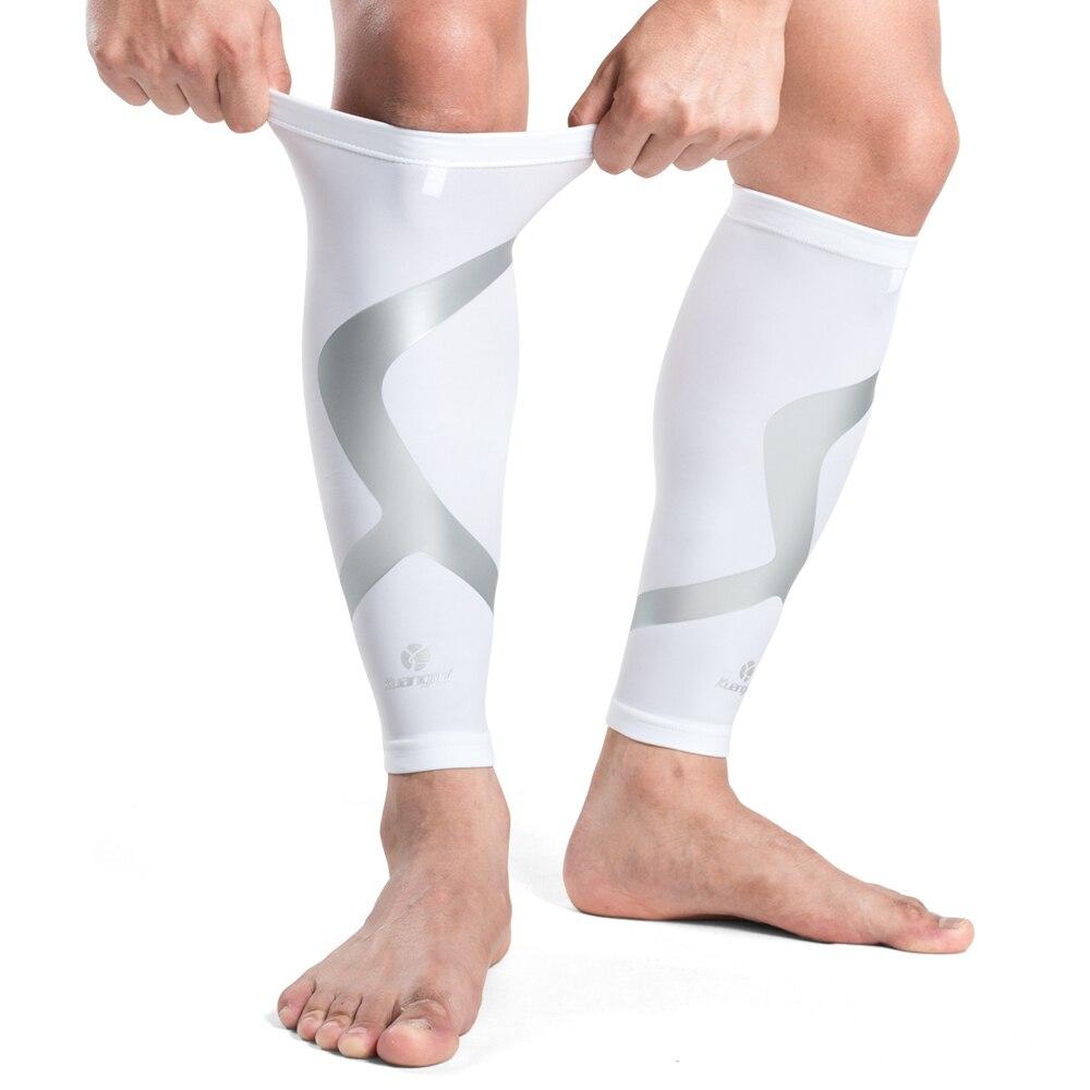 2 ks Kuangmi Calf kompresní rukávy Podpora sportovní bezpečnosti Běhání Shin Splint Brace Ponožky Podkolenky Pad Shin Guard Fotbalový chránič