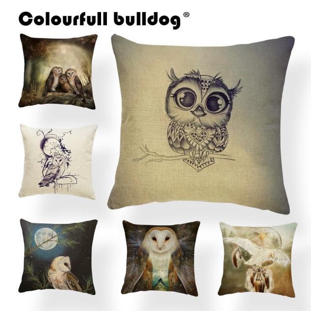 Animal Cushions Home Decor Owl Family Tree Branch Love Moon