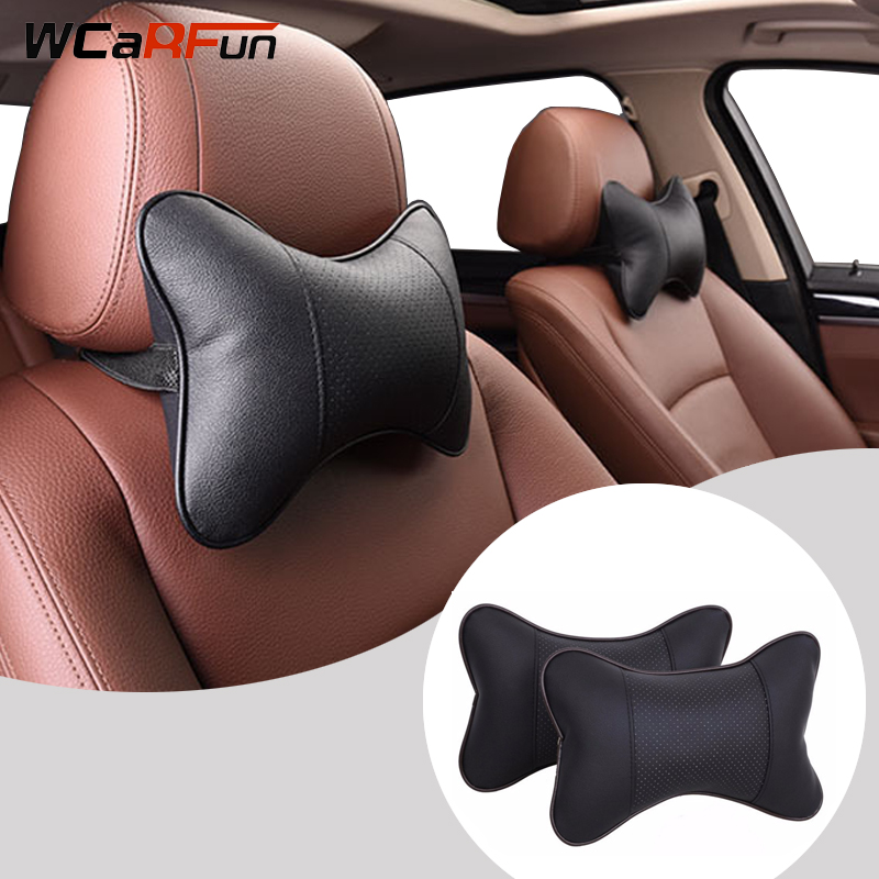 WCaRFun 2 PCS Car Neck Pillow PU leather Neck Headrest Breathable Vehicular Pillows Seat Neck Pillows Car-styling Accessories