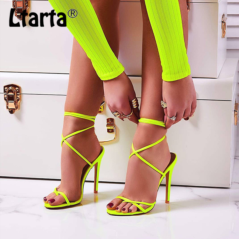 LTARTA Shoes Sexy Sandals High-Heels Large-Size Candy with Women's ZL-B76 Clip-Toe Bright-Color