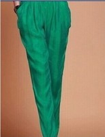 Женские летние большие размеры эластичный пояс 100% шелк полная длина шаровары женские весна осень сплошной карман 100% шелковые шаровары брюк