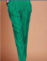 Женские летние плюс Размеры эластичный пояс 100% шелк полной длины шаровары женские Весна осень Solid Pocket 100% шелк шаровары брюки