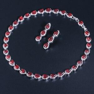 Image 3 - CWWZircons Stunning Pear Cut CZ Zirconia Stone Women Fashion Wedding Party Earrings Necklace Jewelry Sets T019