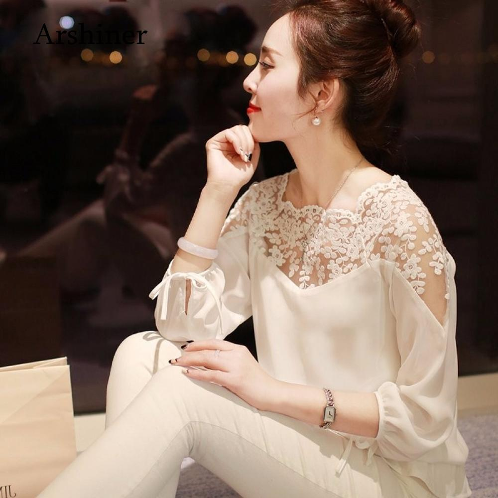 Blouse Sleeve Clothing Autumn Loose  Lace Fashion Womens Long Blusas Woman Shirts Casual Femininas Tops Chiffon