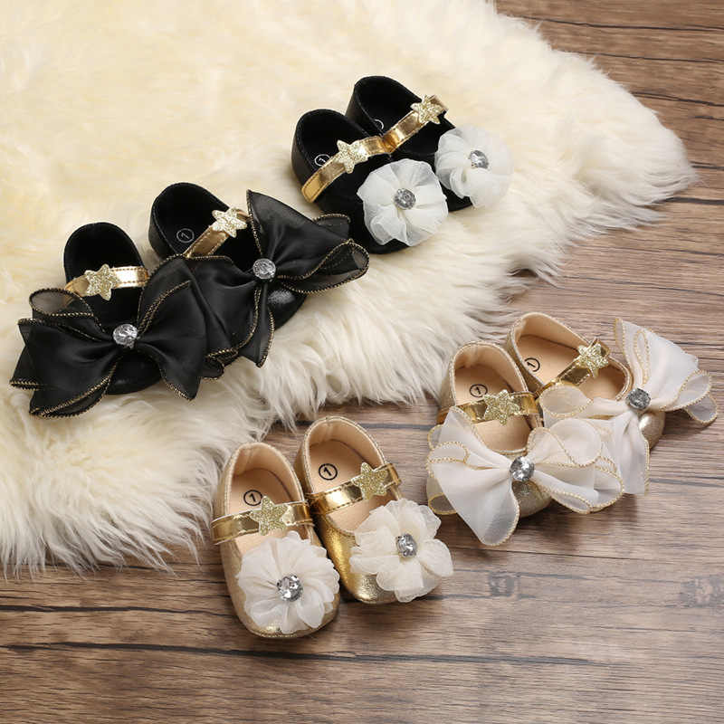 Baby Shoes Baby Girl Bow-knot Soft Shoes Soft Comfortable Bottom Non-slip Fashion Bow Shoes Princess Lovely Kids Crib Shoes