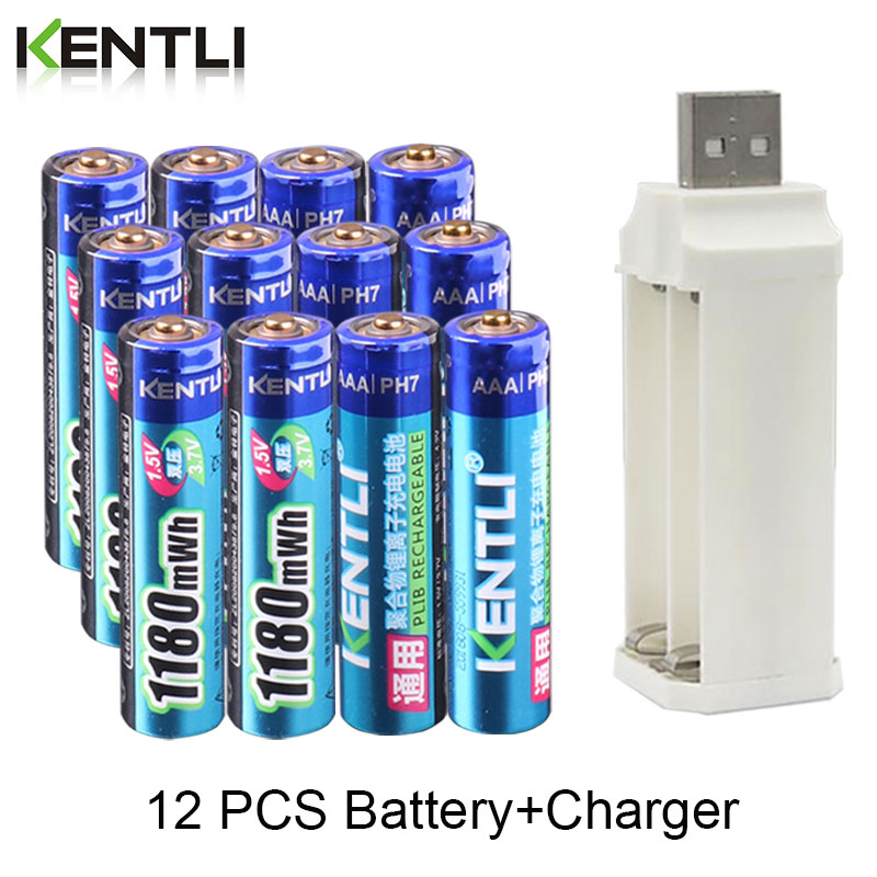 KENTLI 12pcs  1.5v 1180mWh aaa polymer lithium li-ion rechargeable batteries battery + 4 slots lithium li-ion charger