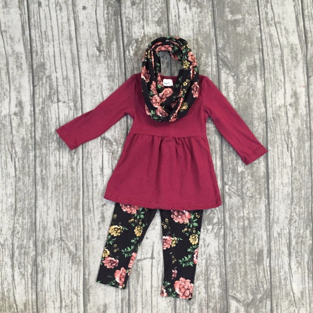 baby girls Fall/winter girls 3 pieces sets scarf boutique clothing children wine red top with floral pants outfits frank buytendijk dealing with dilemmas where business analytics fall short