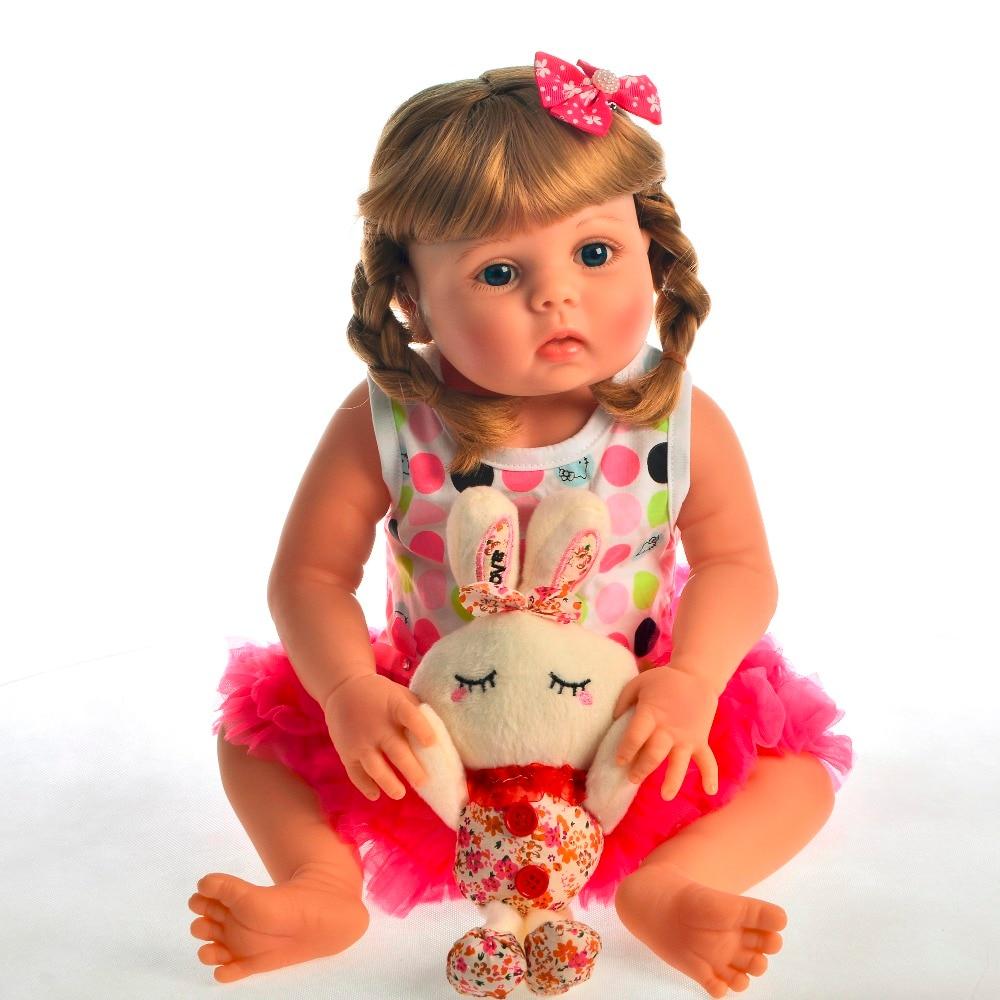 22 ''cheveux blonds Silicone fille poupée Reborn bébé jouet vivant infantile cadeau d'anniversaire pour garçon coucher jouer bebe complet modèle poupée 55 cm