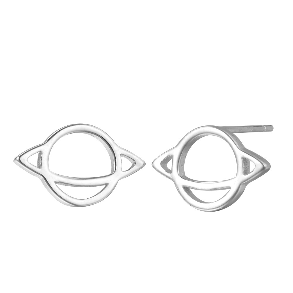 Cxwind Silver Saturn Hollow Stud Earrings for Women Girl