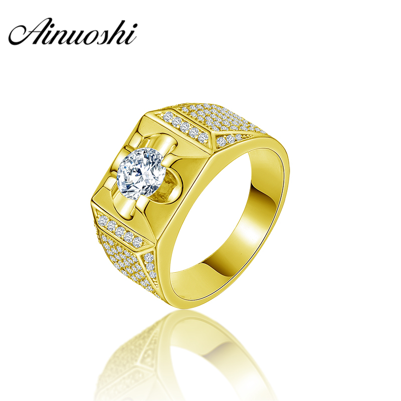 AINUOSHI 10K Solid Yellow Gold Men Ring Rows Drill Unique Round Ring Engagement Wedding Male Jewelry 6.6g Exquisite Wedding Band цена и фото