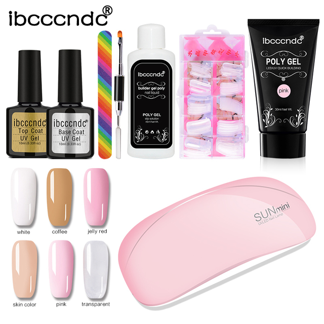 Ibcccndc 30ML Extend Builder Poly Gel Kits Finger Nail Extension UV LED Hard Gel Acrylic Builder Gel Nail Lamp Crystal Jelly