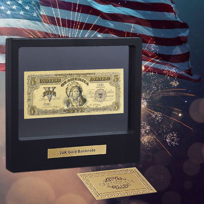 WR Great Home Decor American Color Gold Plated Banknote 1864 Year's <font><b>100</b></font> <font><b>Dollar</b></font> USA <font><b>Bill</b></font> Note with Showing Stand For Collection image