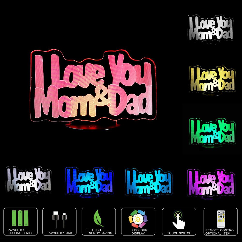 Love dad love mom wholesale personality creative gifts LED light 3D decorative lamp lights new vision