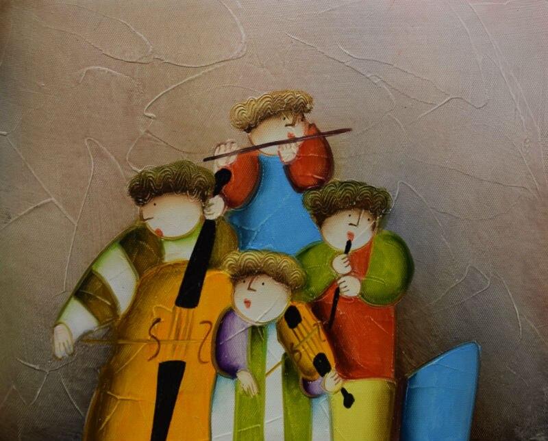 100% Pintado À Mão Pintura A Óleo sobre Tela Moderna Dos Desenhos Animados  Dos Desenhos Animados Crianças Ciclismo Paintingfor Retrato Da Arte Da  Parede da ... def3b20d89