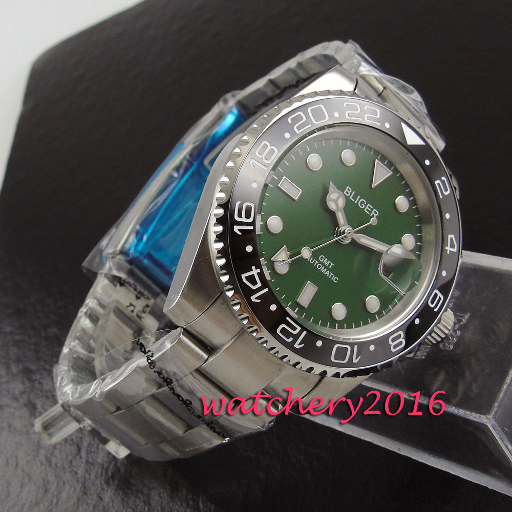 40mm Bliger Green dial Stainless steel case date Stainless Sapphire glass GMT Automatic Movement Men