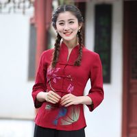 Hot Sale Red Womens Cotton Linen Shirt Tops Traditional Chinese Style Blouse Tang Clothing Size S