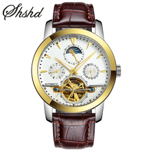 Self-Wind Mechanical Watch Tourbillon Mens Watches Skeleton Wristwatch Luxury Watch Moon Phase Leather Strap Clock Reloj Hombre