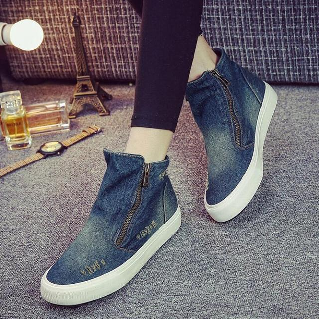{D&H}Brand Shoes Woman High Top Fashion Women's Shoes  New Denim Canvas Shoe Female Casual Boots Botas invierno mujer casual