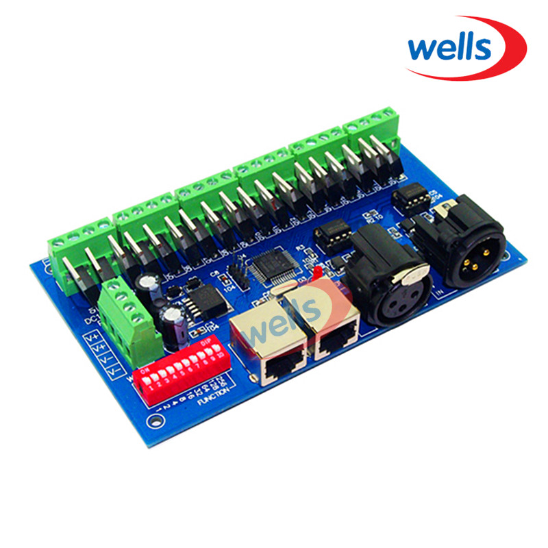 ФОТО DMX512 18CH Controller DMX512 Decoder with RJ45  Output For RGB LED Strip Module Controller DC 12-24V