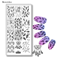 Birds Feather Theme Nail Art Stämpel Mall Bildplatta Stencil Indian Dream Catcher Nail Art Stämpel Stämpling Makeup Manicure C50