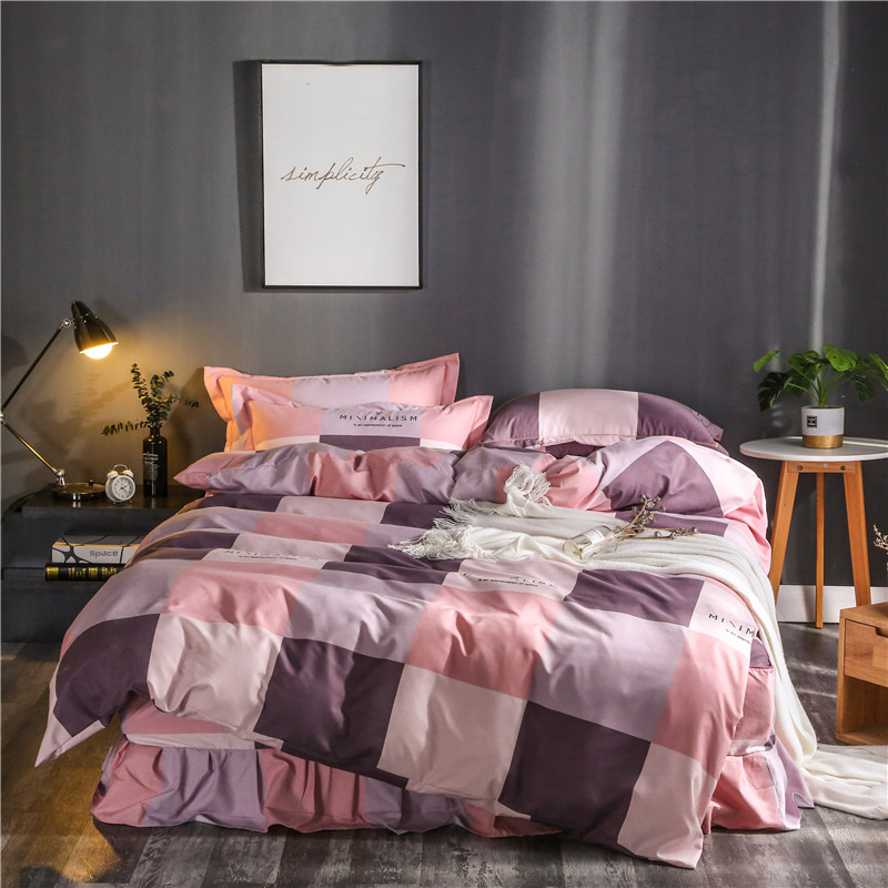 Fashion Pink Plaid Pattern Bedding Sets 4Pcs Thickened Sanding Bed Linings Duvet Cover Bed Skirt  Pillowcases Cover Set Soft  Fashion Pink Plaid Pattern Bedding Sets 4Pcs Thickened Sanding Bed Linings Duvet Cover Bed Skirt  Pillowcases Cover Set Soft