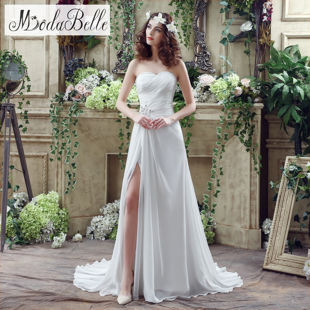 IN STOCK 2016 Simple Beach Wedding Dresses Real Photos Side Leg Slit ...