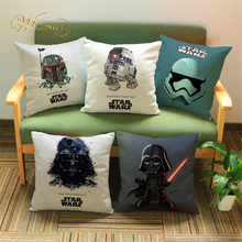 ФОТО wl candy l star wars cushion cover cotton beige linen throw linen pillows cover car sofa home decorative cojines 45x45cm