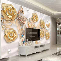 beibehang Wallpaper custom living room bedroom wallpaper murals golden light jewels peacock flower background wall decoration