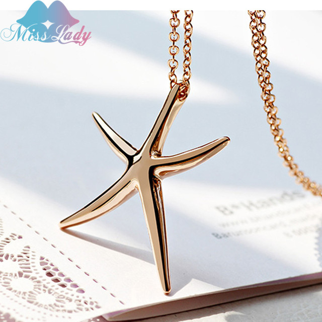 Miss lady rose gold white gold color cute lovely starfish pendant miss lady rose gold white gold color cute lovely starfish pendant necklaces wholesales fashion jewelry for mozeypictures Choice Image