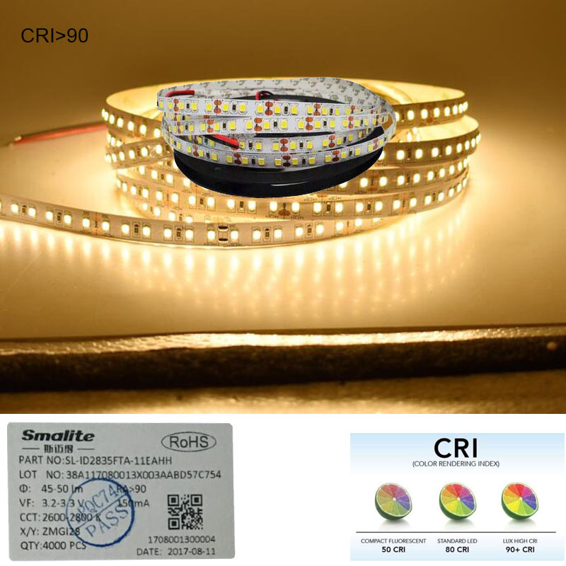 Image 3 - 2018 New High CRI+90 2835 12V 24V 2835 LED Light Strips  For Home 8mm Width  120LED/m 0.2W/LED 45W/5m/lot No Waterproof-in LED Strips from Lights & Lighting