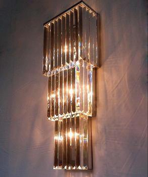 Có thể được tùy chỉnh cao cấp đèn tường pha lê triangle cao cấp biệt thự đèn khách sạn thép không gỉ tường pha lê đèn m