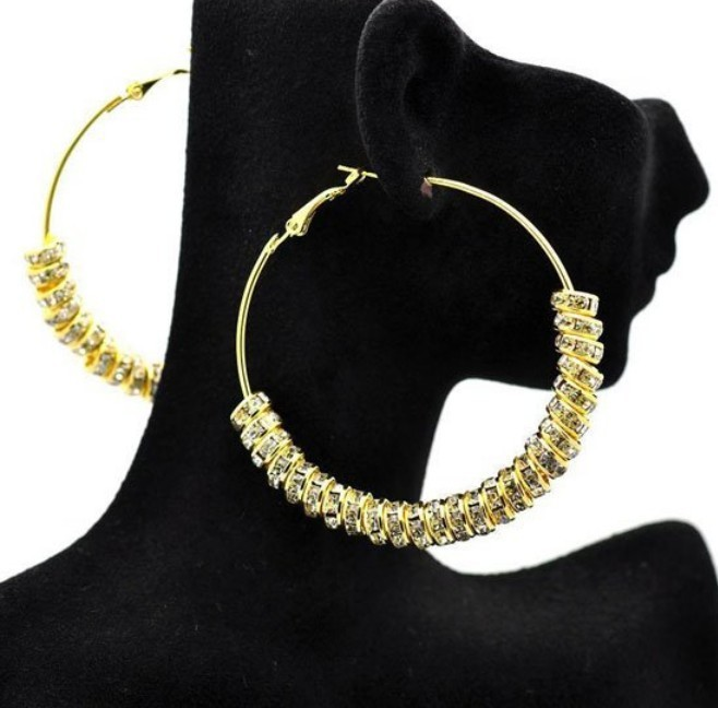 Free shipping 2pcs(1pair)/lot, Wholesale Gold Color Basketball wives earring, Rhinstone Spacer Beads Wives Hoop Bling Earrings