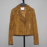 new spring autumn fall season women's genuine pigskin leather coat short jacket for female turn down collar xxl