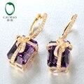 Caimao 16.52ct Natural Amethyst Diamond 14kt Yellow Gold Drop Leverback Earring