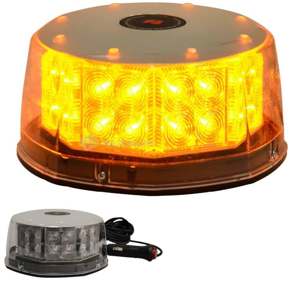 CYAN SOIL BAY 32 LED Amber Magnetic Beacon Light Emergency Warning Strobe Yellow Roof Round