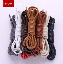 Quality Cotton Shoelaces Waterproof Leather Boot Shoe Laces Round Shape Fine Rope White Black Red Blue Purple Brown Shoelaces