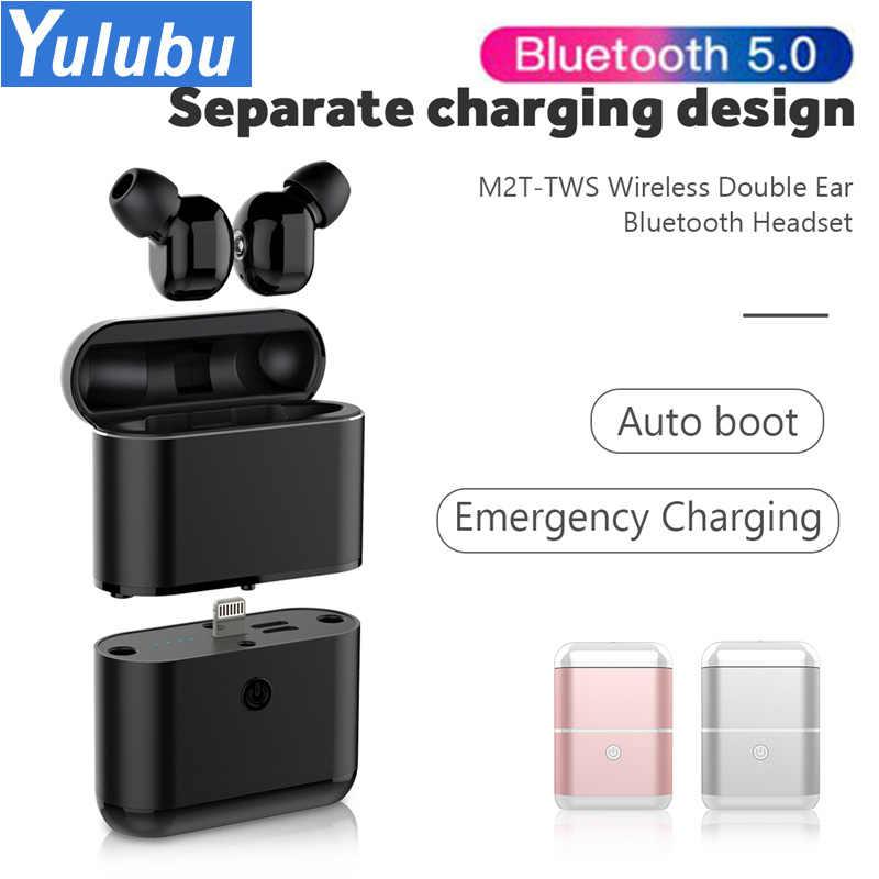 M2T TWS Mini auricular Bluetooth inalámbrico conexión automática auriculares caja de carga separada 1600mAh para iphone Micro tipo C interfaz