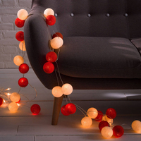 Thailand style AC110V/220V 5M 28pcs White and Red handmade cotton Ball String Lights 8Modes Fairy wedding XMAS Patio Deco