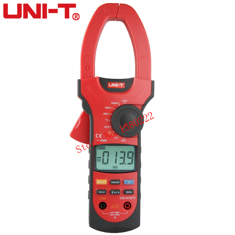 UNI-T UT208A True-RMS Digital Clamp Meter Multimeter ACA & DCA Clamp Meter 1000A, Voltage Current Resistance Frequency uni t ut205 ture rms auto manual range digital handheld clamp meter multimeter ac dc voltage aca test tool