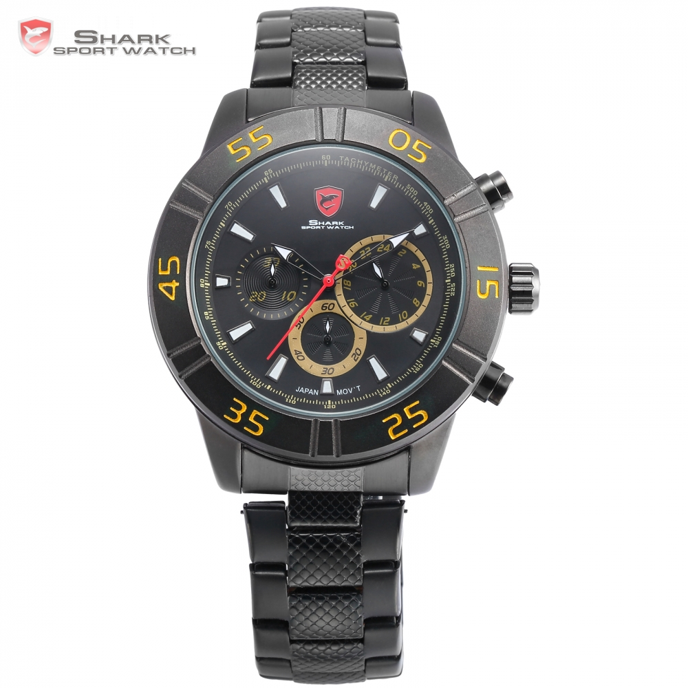 New Shark Sport Watch Waterproof Chronograph Yellow Numbers Fashion Male Clock Black  Band Analog 6 Hands Quartz-watch/ SH304 shark sport watch black relogio 6 hands