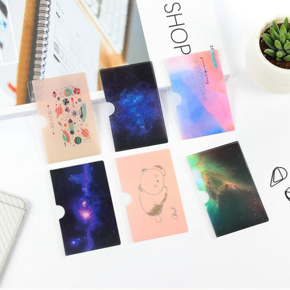 Starry Sky PVC Card Holder Credit Function Cute Women ID Business Bank Cards Bag Protector Female Card Holder  Keeper Kids Gift