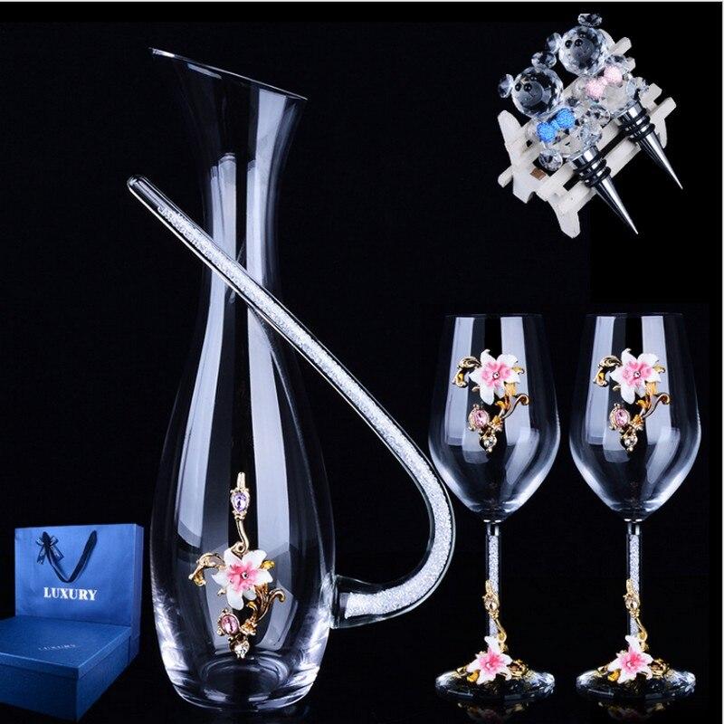 Émail couleur K9 cristal 470 ML verre à vin rouge gobelet bouteille de vin verre nouvellement marié cadeau costume élégant Vodka haute tasse whisky