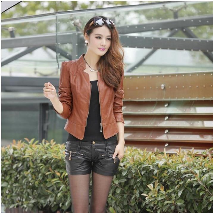 2017 Autumn leather jacket women casual long sleeve faux short coat fashion  mosaic plus size PU cheap bomber jacket femininas - Cheap Womens Bomber Jacket Promotion-Shop For Promotional Cheap
