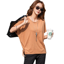 купить 2019 Summer Batwing Sleeve T shirt Women Tshirt Female Cotton Plus Size T-Shirt Women Loose Tops Fashion White Tee Shirt Femme по цене 653.92 рублей
