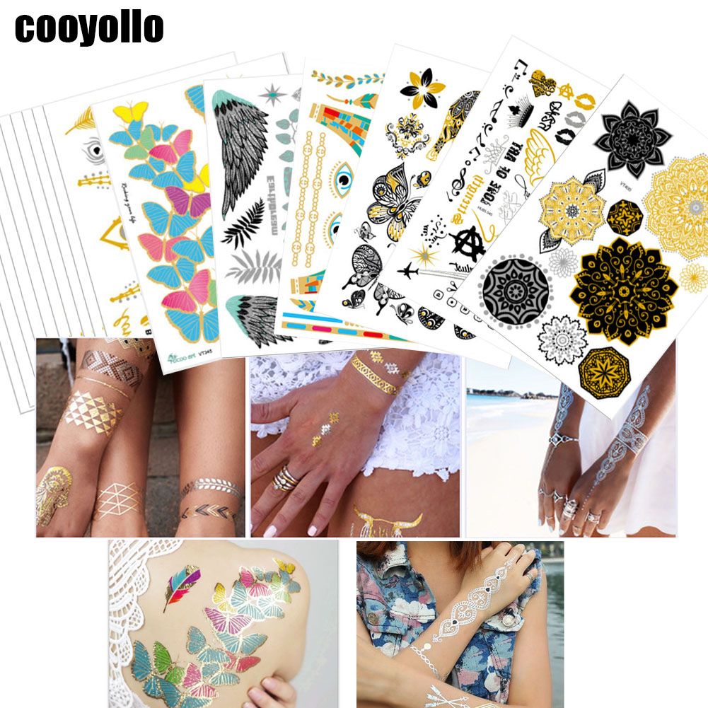 20 15cm Gold Designs Body Art Temporary Tattoo Stickers Men Women Chain Bracelet Fake Jewelry Metallic Waterproof Sticker Supply Temporary Tattoos Aliexpress