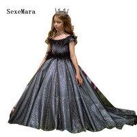 Черное меховое Серебряное платье принцессы с блестками детское праздничное платье костюм для девочек длинное вечернее платье с бисером и ш