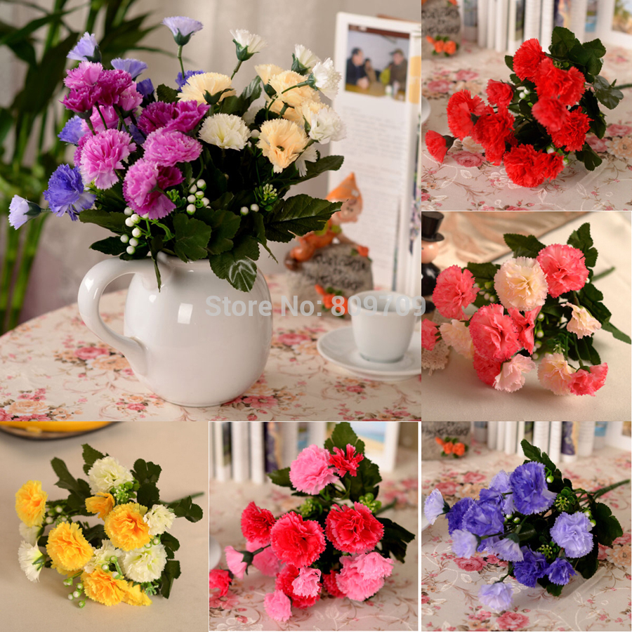 20pcs Artificial Silk Carnation Flower Bouquet Arrangement Plant